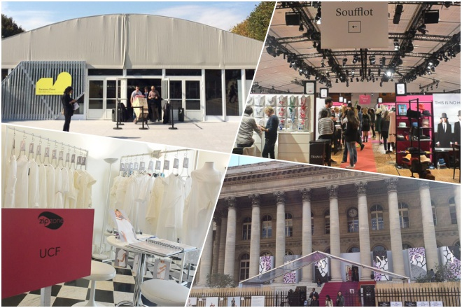 Photos of fashion trade fairs in Paris.